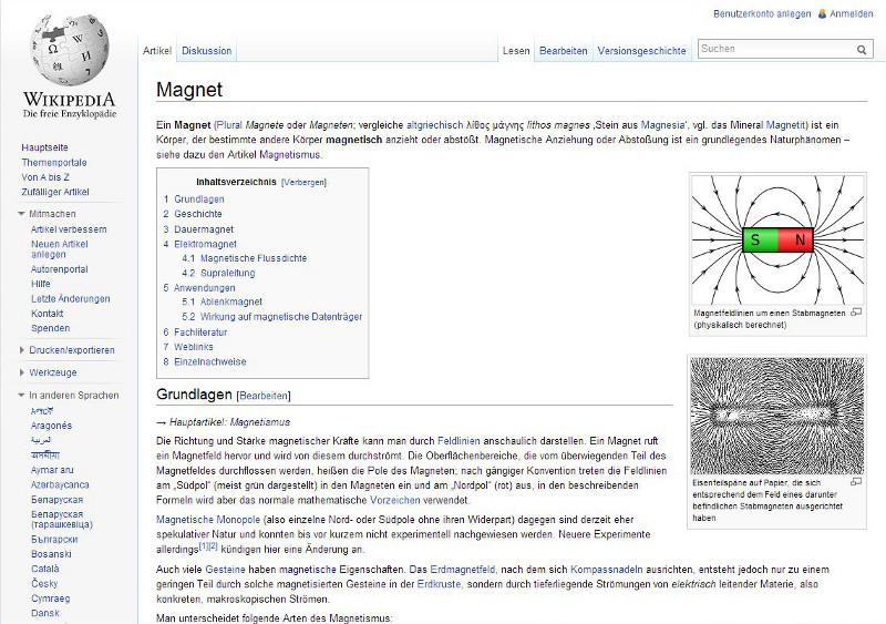 Magnet bei Wikipedia